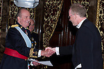 09.10.2012. King Juan Carlos I of Spain attend the reception of credentials of the new Ambassador of Kingdom of Norway, Johan Vibe Christopher, in the Royal Palace in Madrid, Spain. In the image King Juan Carlos and Johan Vibe Christopher (Alterphotos/Marta Gonzalez)