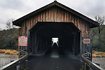Detail image at Hamden Covered Bridge, (1859, restored 2002) that carries Basin Clove Road, over the West Branch of Delaware River, in Hamden, NY, on Thursday, October 23, 2014. Photo by Jim Peppler. Copyright Jim Peppler 2014.