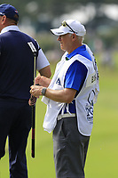 Thomas Bjorn (DEN) caddy Gerry Byrne on the 18th green during Friday's Round 2 of the 2017 PGA Championship held at Quail Hollow Golf Club, Charlotte, North Carolina, USA. 11th August 2017.<br /> Picture: Eoin Clarke | Golffile<br /> <br /> <br /> All photos usage must carry mandatory copyright credit (&copy; Golffile | Eoin Clarke)