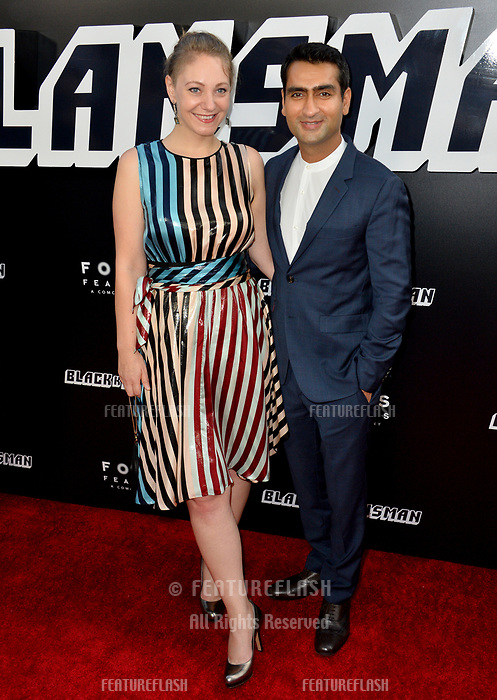 "Kumail Nanjiani & Emily Gordon at the Los Angeles premiere of ""BlacKkKlansman"" at the Academy's Samuel Goldwyn Theatre, Beverly Hills, USA 08 Aug. 2018<br /> Picture: Paul Smith/Featureflash/SilverHub 0208 004 5359 sales@silverhubmedia.com"