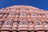 The facade of the Palace of the Winds, or Hawa Mahal, in Jaipur, India
