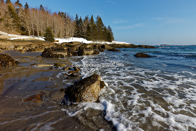 Winter view of Birch Point Beach, Owls Head, Knox County, Maine, USA