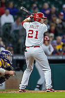 Nebraska Cornhuskers outfielder Ryan Boldt (21) at bat during the Houston College Classic against the LSU Tigers on March 8, 2015 at Minute Maid Park in Houston, Texas. LSU defeated Nebraska 4-2. (Andrew Woolley/Four Seam Images)