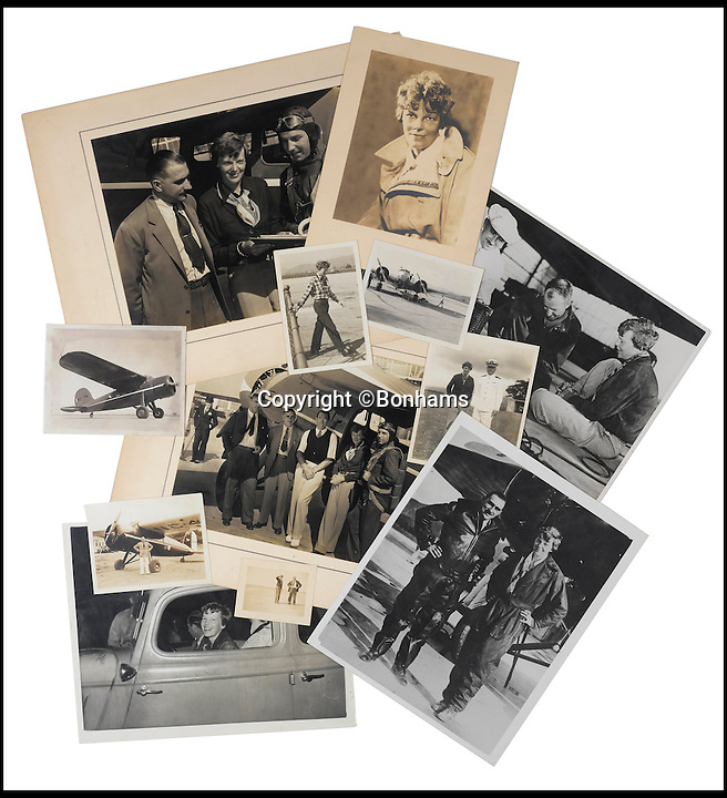BNPS.co.uk (01202 558833)<br /> Pic: Bonhams/BNPS<br /> <br /> Also being sold by Bonhams are 65 prints of Amelia Earhart.<br /> <br /> The blueprints of the cutting edge aeroplane that tragic aviation pioneer Amelia Earhart disappeared in during an attempt to fly around the world almost 80 years ago have emerged for sale for &pound;14,000.<br /> <br /> Earhart's Lockheed Electra 10e aircraft was packed so full of new technology that it was dubbed the 'flying laboratory' on its launch in 1936.<br /> <br /> Plans and invoices for the work Lockheed carried out to modify the plane for the round the world flight show Earhart had four auxiliary fuel tanks fitted in the passenger compartment and a navigator's station to the rear of that.<br /> <br /> The auction will take place at Bonhams in New York on June 8.