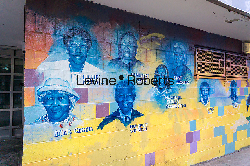Mural with prominent residents pictured adorns the entrance to the Langston Hughes Senior Center in the Langston Hughes housing projects in the Brownsville neighborhood of Brooklyn in New York on Saturday, May 7, 2016.  (© Richard B. Levine)