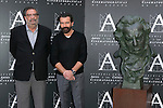 Antonio Banderas and Enrique Gonzalez Macho attend the photocall of the Honor Goya Award at Spanish Cinema Accademy in Madrid, Spain. October 24, 2014. (ALTERPHOTOS/Carlos Dafonte)