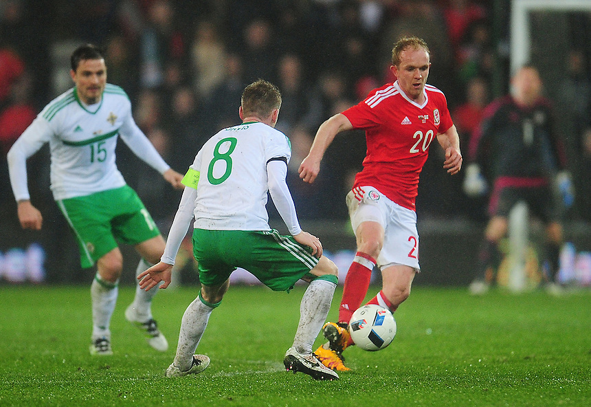 Wales' Jonathan Williams in action during todays match  <br /> <br /> Photographer Kevin Barnes/CameraSport<br /> <br /> Football - International Friendly - Wales v Northern Ireland - Thursday 24th March 2016  - Cardiff City Stadium - Cardiff<br /> <br /> &copy; CameraSport - 43 Linden Ave. Countesthorpe. Leicester. England. LE8 5PG - Tel: +44 (0) 116 277 4147 - admin@camerasport.com - www.camerasport.com