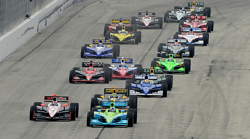 17-19 June 2011, West Allis, Wisconsin USA<br /> #10 Dario Franchitti and Helio Castroneves on double file restart.<br /> ©2011 Dan R. Boyd Lat Photo USA