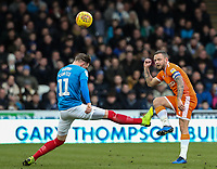 Blackpool's Jay Spearing competing with Portsmouth's  Ronan Curtis<br /> <br /> Photographer Andrew Kearns/CameraSport<br /> <br /> The EFL Sky Bet League One - Portsmouth v Blackpool - Saturday 12th January 2019 - Fratton Park - Portsmouth<br /> <br /> World Copyright &copy; 2019 CameraSport. All rights reserved. 43 Linden Ave. Countesthorpe. Leicester. England. LE8 5PG - Tel: +44 (0) 116 277 4147 - admin@camerasport.com - www.camerasport.com