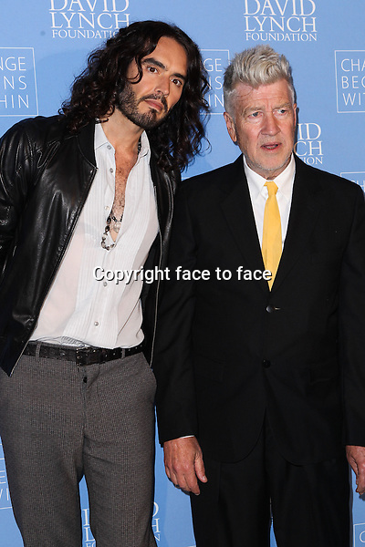 "Russell Brand, David Lynch - LOS ANGELES, CA - APRIL 02: ""Meditation In Education"" Global Outreach Campaign held at The Billy Wilder Theater at the Hammer Museum on April 2, 2013 in Los Angeles, California...Credit: MediaPunch/face to face..- Germany, Austria, Switzerland, Eastern Europe, Australia, UK, USA, Taiwan, Singapore, China, Malaysia and Thailand rights only -"