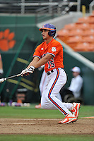 Sophomore infielder Glenn Batson (15) (Greenville High School) of the Clemson Tigers in a fall practice intra-squad Orange-Purple scrimmage on Saturday, September 26, 2015, at Doug Kingsmore Stadium in Clemson, South Carolina. (Tom Priddy/Four Seam Images)