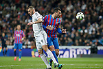Real Madrid´s Karim Benzema (L) and Levante´s Navarro during La Liga match at Santiago Bernabeu stadium in Madrid, Spain. March 15, 2015. (ALTERPHOTOS/Victor Blanco)