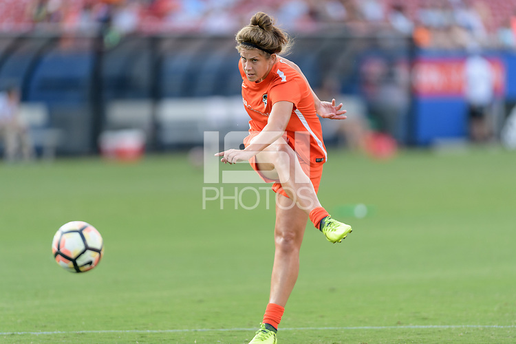 Frisco, TX - Sunday September 03, 2017: Sarah Hagen warming up during a regular season National Women's Soccer League (NWSL) match between the Houston Dash and the Seattle Reign FC at Toyota Stadium in Frisco Texas. The match was moved to Toyota Stadium in Frisco Texas due to Hurricane Harvey hitting Houston Texas.