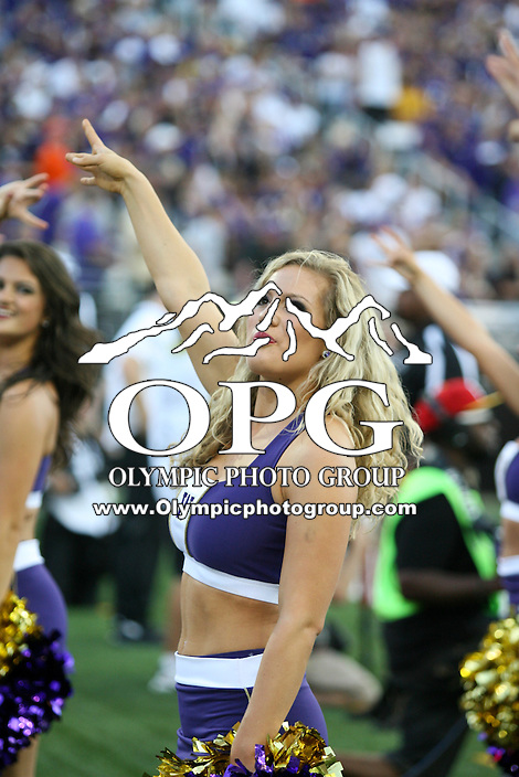 2013-08-31:  Washington cheer member Hannah Tripp entertained fans during the game against Boise State.  Washington defeated  Boise State 38-6 at Boise State in Seattle, WA.