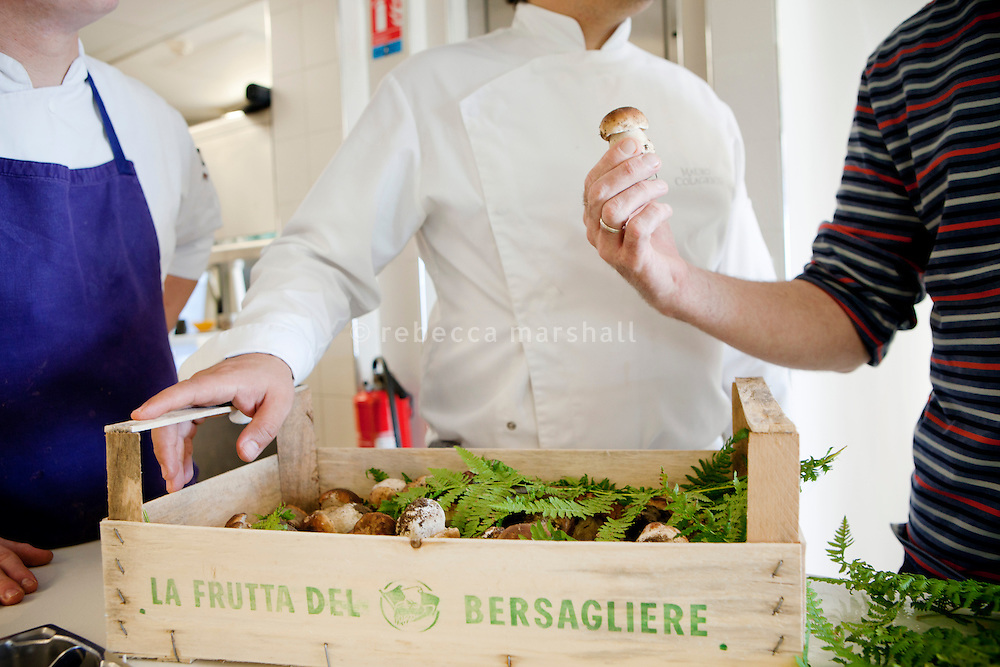 Cèpes mushrooms, picked from the wild in Italy, are delivered to restaurant Mirazur, Menton, France, 18 September 2013.
