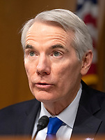 """United States Senator Rob Portman (Republican of Ohio) makes an opening remark prior to hearing testimony before the US Senate Committee on Homeland Security and Governmental Affairs Permanent Subcommittee on Investigations during a hearing on """"Examining Private Sector Data Breaches"""" on Capitol Hill in Washington, DC on Thursday, March 7, 2019.<br /> Credit: Ron Sachs / CNP/AdMedia"""