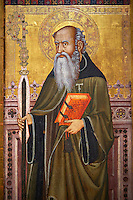 Gothic Altarpiece of  St Anthony the Abbot, from the workshop of Llorenc Saragossa, last quarter of the 14th century, from Xelva, Valencia, tempera and gold leaf on for wood.  National Museum of Catalan Art, Barcelona, Spain, inv no: MNAC 64027.