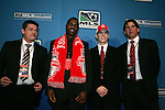 15 January 2009: O'Brian White (2nd from left) was taken with the fourth overall pick and Sam Cronin (2nd from right) was taken with the third overall pick by Toronto FC. With head coach John Carver (left) and assistant coach Nick Dasovic (right). The 2009 Major League Soccer SuperDraft was held at the Convention Center in St. Louis, Missouri in conjuction with the National Soccer Coaches Association of America's annual convention.