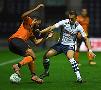 Preston North End's Billy Bodin battles with Hull City's Kevin Stewart<br /> <br /> Photographer Dave Howarth/CameraSport<br /> <br /> The Carabao Cup Second Round - Preston North End v Hull City - Tuesday 27th August 2019  - Deepdale Stadium - Preston<br />  <br /> World Copyright © 2019 CameraSport. All rights reserved. 43 Linden Ave. Countesthorpe. Leicester. England. LE8 5PG - Tel: +44 (0) 116 277 4147 - admin@camerasport.com - www.camerasport.com