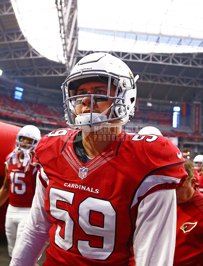 Dec 27, 2015; Glendale, AZ, USA; Arizona Cardinals linebacker Alani Fua (59) against the Green Bay Packers at University of Phoenix Stadium. Mandatory Credit: Mark J. Rebilas-USA TODAY Sports