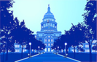 Austin Texas State Capitol Grounds floodlit at night illustration graphic.