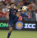David Alaba (27) of Bayern Munich settles a pass during their International Champions Cup match against Milan on July 23, 2019 at Children's Mercy Park in Kansas City, KS.<br /> Tim VIZER/AFP