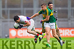 James O'Donoghue, Kerry in Action Against Matthew Donnelly, Tyrone in the All Ireland Semi Final at Croke Park on Sunday.
