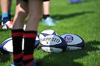 A general view of Bath Rugby branded balls. Bath Rugby Family Festival of Rugby, on August 8, 2015 at the Recreation Ground in Bath, England. Photo by: Patrick Khachfe / Onside Images
