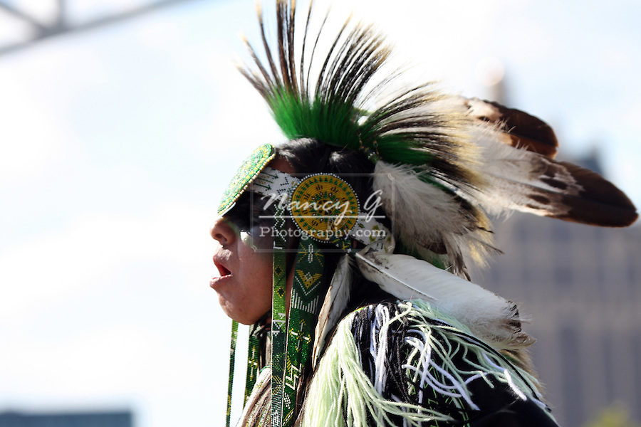 A mature male Native American Indian dancer at a Pow Wow at the Milwaukee Lakefront Indian Summer Festival, Wisconsin