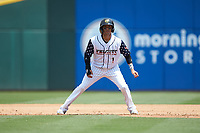 Ryan Goins (1) of the Charlotte Knights takes his lead off of first base against the Durham Bulls at BB&T BallPark on May 27, 2019 in Charlotte, North Carolina. The Bulls defeated the Knights 10-0. (Brian Westerholt/Four Seam Images)