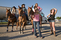 Johnsville, MD: J Bar W Ranch -- Girl Culture: Paige Beckley (center) holding Ashley Smith horse. Julia Frank to Beckley's right. On horse back (Left to Right), Melanie East, Lauren Rhen and Ashley Smith.