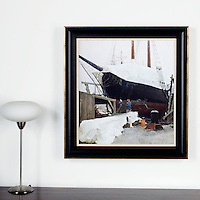 "Lawson: Mending of the J.E. Riggin, Digital Print, Image Dims. 26"" x 23"", Framed Dims. 33.5"" x 31"""