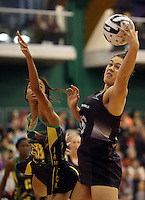 14.09.2016 Silver Ferns Mia Wilson in action during the Taini Jamison netball match between the Silver Ferns and Jamaica played at Arena Manawatu in Palmerston North. Mandatory Photo Credit ©Michael Bradley.