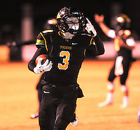 NWA Democrat-Gazette/ANDY SHUPE<br /> Gavin Heltemes (3) of Prairie Grove carries the ball into the end zone against Star City Friday, Nov. 27, 2015, during the first half of play at Tiger Stadium in Prairie Grove. Visit nwadg.com/photos to see more photographs from the game.
