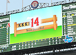 Scoreboard,<br /> AUGUST 1, 2013 - MLB :<br /> The scoreboard shows the 14th strikeout of Yu Darvish of the Texas Rangers in the sixth inning during the Major League Baseball game against the Arizona Diamondbacks at Rangers Ballpark in Arlington in Arlington, Texas, United States. (Photo by AFLO)