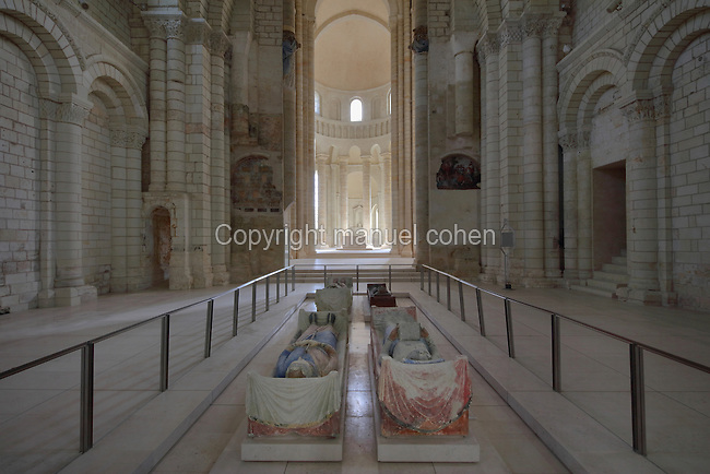 Nave and apse of the Romanesque abbey church of Fontevraud Abbey, Fontevraud-l'Abbaye, Loire Valley, Maine-et-Loire, France. The interior has large domes and pillars with carved capitals and contains the 12th century effigies of Henry II, 1133-89, Plantagenet King of England and his wife, Eleanor of Aquitaine 1122-1204, the tomb of King Richard I the Lionheart (reigned 1189-99), and tombs of Isabelle, wife of King John I. The abbey itself was founded in 1100 by Robert of Arbrissel, who created the Order of Fontevraud. It was a double monastery for monks and nuns, run by an abbess. The abbey is listed as a historic monument and a UNESCO World Heritage Site. Picture by Manuel Cohen