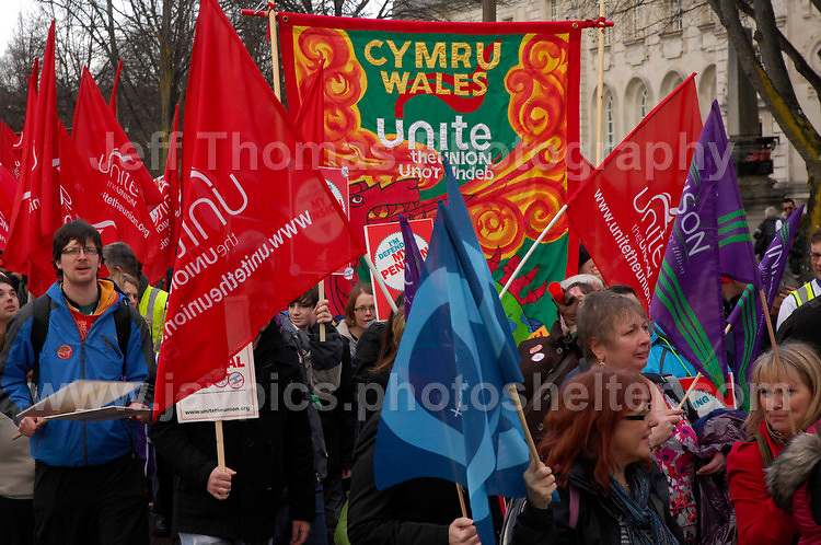 Cardiff, South Wales, UK - 1st Dec 2011 - Protection of pensions and jobs protest rally through the City centre of Cardiff - Photo credit - Jeff Thomas Photography