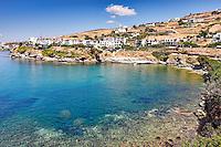 Rocky shore of Viomichanos in Andros, Greece