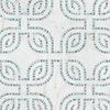 Heathrow Grande, a hand-cut and waterjet mosaic, shown in honed Cloud Nine and tumbled Ming Green, is part of the Miraflores collection by Paul Schatz New Ravenna.