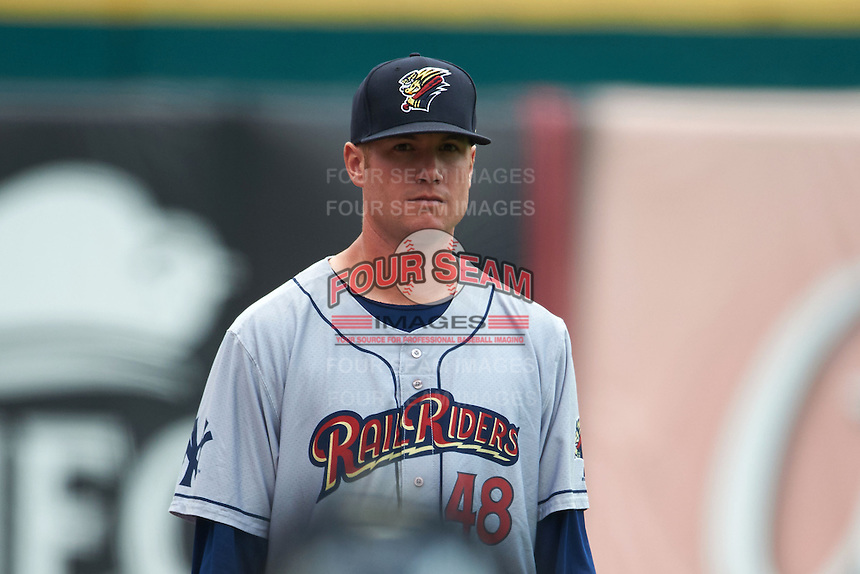 Scranton/Wilkes-Barre RailRiders pitcher Tyler Webb (48) in the bullpen during a game against the Buffalo Bisons on June 10, 2015 at Coca-Cola Field in Buffalo, New York.  Scranton/Wilkes-Barre defeated Buffalo 7-2.  (Mike Janes/Four Seam Images)