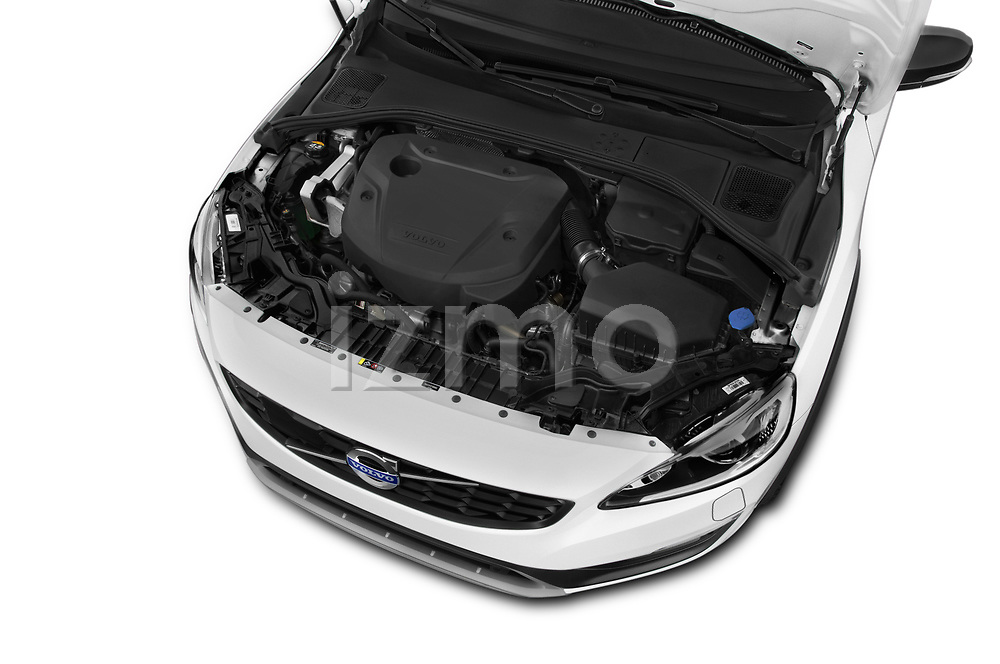 Car Stock 2017 Volvo V60-Cross-Country Summum 5 Door Wagon Engine  high angle detail view