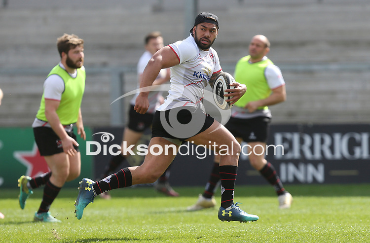 Friday 20 April 2018 | Ulster Rugby Captain's Run<br /> <br /> Charles Pituau during Captain's Run at Kingspan Stadium, Ravenhill Park Belfast, Northern Ireland. Photo by John Dickson / DICKSONDIGITAL