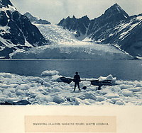 BNPS.co.uk (01202 558833)<br /> Pic: Bonhams/BNPS<br /> <br /> Hamburg glacier on South Georgia photographed by Hurley on the way south - little did he know that he would not set foot on dry land for nearly 500 days...<br /> <br /> Photographic record of one of the worlds most epic tales of endurance.<br /> <br /> Remarkable photos documenting Sir Ernest Shackleton's ill-fated attempt to cross Antarctica over 100 years ago have emerged for sale for £40,000.<br /> <br /> The 1914-17 expedition is remembered for one of the greatest feats of human bravery and endurance after the party became stranded for 18 months in freezing conditions. <br /> <br /> The expedition's official photographer, Frank Hurley, captured their ordeal on camera and made presentation albums when he eventually returned to Britain.<br /> <br /> One album was given to King George V. Seven are believed to survive today, including the one for sale that has been owned by a private collector for over 40 years.