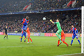 31st October 2017, St Jakob-Park, Basel, Switzerland; UEFA Champions League, FC Basel versus CSKA Moscow;  Igor Akinfeev of CSKA Moscow clears the ball from Eder Alvarez Balanta of FC Basel