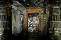 "Ajanta, a UNESCO world heritage site, is famous for its Buddhist rock-cut cave temples and monasteries with their extraordinary wall paintings. The temples are hollowed out of granite cliffs on the inner side of a 20-meter ravine in the Wagurna River valley, 105 km northeast of Aurangabad, at a site of great scenic beauty. About 30 caves were excavated between the 1st century BCE and the 7th century CE and are of two types, caityas (""sanctuaries"") and viharas (""monasteries""). Although the sculpture, particularly the rich ornamentation of the caitya pillars, is noteworthy, it is the fresco-type paintings that are the chief interest of Ajanta. These paintings depict colorful Buddhist legends and divinities with an exuberance and vitality that is unsurpassed in Indian art. [Adapted from Encyclopedia Britannica]"