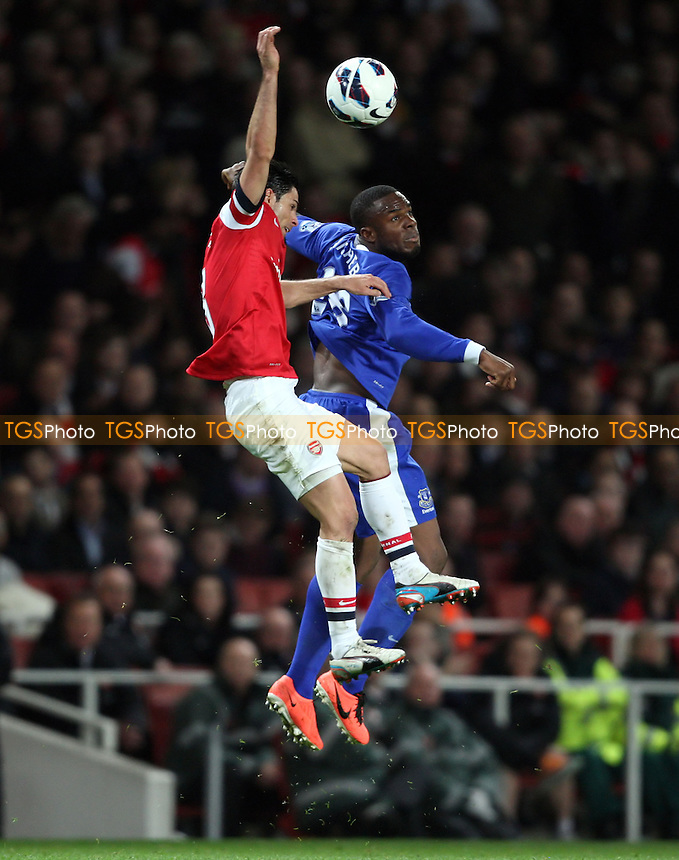 Victor Anichebe of Everton and Mikel Arteta of Everton - Arsenal vs Everton, Barclays Premier League at the Emirates Stadium, Arsenal - 16/04/13 - MANDATORY CREDIT: Rob Newell/TGSPHOTO - Self billing applies where appropriate - 0845 094 6026 - contact@tgsphoto.co.uk - NO UNPAID USE.