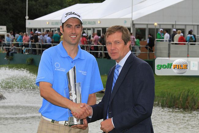 Ross Fisher holds the 3 Irish Open trophy, with George O'Grady Chief Executive European Tour, after winning at the end of the Final Day of the 3 Irish Open at the Killarney Golf & Fishing Club, 1st August 2010..(Picture Eoin Clarke/www.golffile.ie)