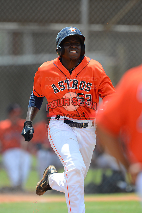 GCL Astros outfielder Javaris Reynolds (53) during a game against the GCL Pirates on July 16, 2013 at Osceola County Complex in Kissimmee, Florida.  GCL Pirates defeated the GCL Astros 6-3.  (Mike Janes/Four Seam Images)
