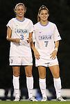 13 October 2011: North Carolina's Megan Brigman (3) and Kealia Ohai (7). The University of North Carolina Tar Heels defeated the Duke University Blue Devils 1-0 at Fetzer Field in Chapel Hill, North Carolina in an NCAA Division I Women's Soccer game.