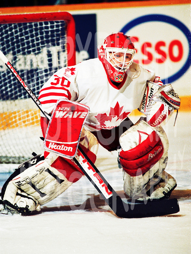 Manny Legace Team Canada 1994. Photo copyright F. Scott Grant